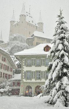 Fairytale Thun Castle and the Town hall under snow storm, Thun, Switzerland | by Stefan Grünig