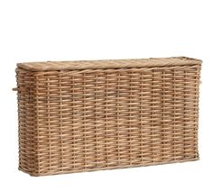 Aubrey Woven Oversized Narrow Rectangle Lidded Storage Basket - Natural | Pottery Barn
