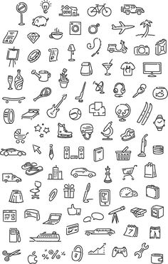 General Icons for doodles Doodle Drawings, Easy Drawings, Mini Drawings, Flower Drawings, Sketch Notes, Bullet Journal Inspiration, Small Tattoos, How To Draw Hands, Writing