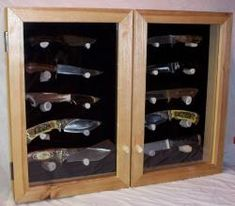 Wall Mounted Display Cabinets, Custom Knives, Double Doors, Wine Rack, Gadgets, Models, Cool Stuff, Storage, Places