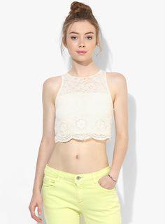 Buy Miss Selfridge Cream Embroidered Crop Top Online - 2797631 - Jabong Lakme Fashion Week, Miss Selfridge, Palette, India, Models, Crop Tops, Cream, How To Wear, Inspiration