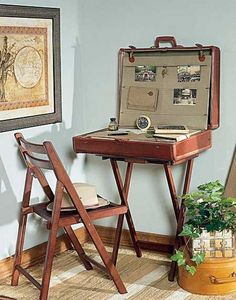 reuse old suitcases for diy table and chair with flower decoration