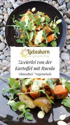 Zweierlei von der Kartoffel mit Rucola und Curcuma-Dip – Liebeskorn Korn, Harissa, Kraut, Dip, Beef, Souffle Dish, Gluten Free Recipes, Meat, Salsa