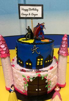 Princess and superhero cake Combined Birthday Parties, Girls Birthday Party Themes, Twin Birthday, Superhero Birthday Party, 4th Birthday, Birthday Ideas, Twins Cake, Superhero Cake, Princess Party