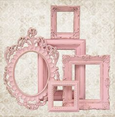 Shabby Chic Picture Frame Pastel Pink Picture Frame Set Ornate Frames Wedding Nursery Shabby Chic Home Decor, via Etsy.
