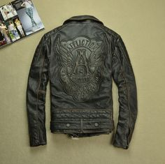 Find More Information about Free Shipping 2015 New Men Leather Jacket Black Slim Vintage 100% Genuine Cow Skin Leather Men Motorcycle Jacket Winter Coat,High Quality coat designs for men,China jackets and coats for men Suppliers, Cheap jacket arsenal from ShowGirl Fashion on Aliexpress.com