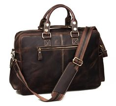 Image of Vintage Handmade Genuine Crazy Horse Leather Business Travel Bag /Duffle bag/Luggage Bag(J-2)