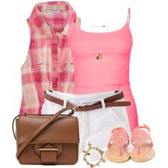 """""""Pink Plaid Top with Belted Shorts"""" by daiscat on Polyvore"""