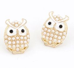 Pearl white owl earring   Also available in blue  Ready stock and free normal mail in Singapore  www.cuteclozette.com