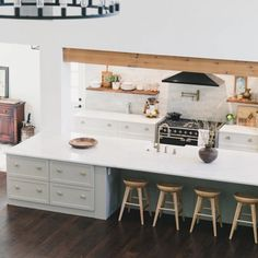 Incredible Farmhouse Kitchen Transformation with a Huge Island – Semihandmade Kitchen Flooring, Kitchen Cabinets, Shaker Style Cabinet Doors, Two Tone Kitchen, Kitchen Living, Kitchen Remodel, Kitchen Design, The Incredibles, Island
