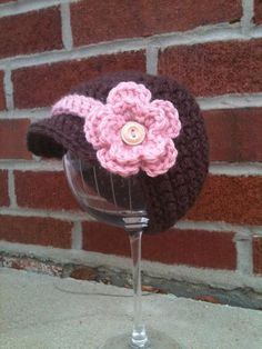 Cute crochet hat with brim and flower