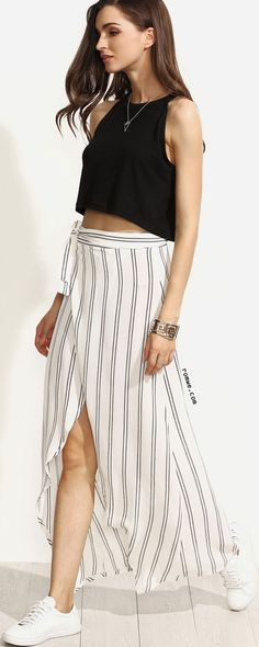 White Striped Wrap Asymmetrical Self Tie Skirt with black crop top and white sneakers - rowme.com