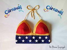 Fique PODEROSA neste Carnaval! Faça você um top cropped de crochê da Mulher Maravilha! Receita disponível em: http://www.ganhemaiscirculo.com.br/top-cropped-mulher-maravilha/
