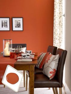 Warm sage green living room with rusty orange see website for details green pinterest - Red dining room color ideas ...