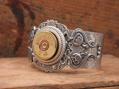 Shotgun Casing Jewelry - 12 Gauge Shotgun Shell Steampunk Inspired Antique Silver Cuff Bracelet