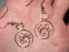 Wire Wrapped Paw Print MADE to ORDER Earrings by 1ofAkinds on Etsy, $10.00