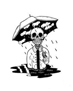 aesthetic skeleton tattoo drawings drawing sketches draw cartoon skull disegni dark umbrella grunge storm halloween ink skeletons desenhos tatuagem arte