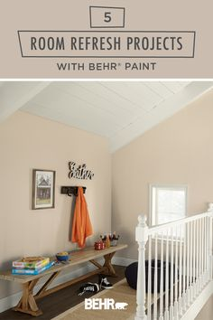 It's amazing what a new coat of BEHR® Paint can do! Just check out these five room refresh projects for inspiration! Each one uses shades from the new BEHR® 2020 Color Trends Palette—like this hallway landing featuring Creamy Mushroom and Polar Bear. Click below to learn more.