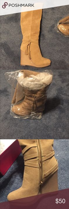 """Tan wedge boots size 6 brand new Tan wedge boots size 6 with a 4"""" heel brand new never worn! Still with box tags and wrapped up Shoe Dazzle Shoes Heeled Boots"""