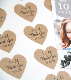 Thank You Wedding Heart Stickers  Initials and by ThePetitePackage, $12.50