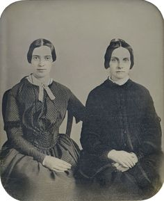 Recently discovered photograph of poet Emily Dickinson with her friend Kate Scott Turner, c. 1859.