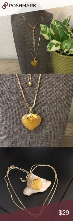 Gold necklace and yellow jade heart pendant Gold necklace and yellow jade heart pendant from Myanmar brand new 32-34 inch long. Jewelry Necklaces