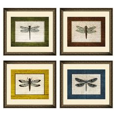 Equally at home in an artful collage or on its own as an eye-catching focal point, this charming framed giclee print showcases a dragonfly motif for natural ...
