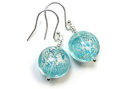 Murano Glass Lentil Earrings - Aqua and White Gold Murano Glass, Gold Foil, Sterling Silver Jewelry, Aqua, White Gold, Pendant Necklace, Beads, Earrings, Beading