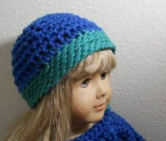Free American Girl crochet hat pattern that is ideal for beginners.