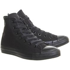 All Star Hi Trainers by Converse Supplied by Office ($69) ❤ liked on Polyvore featuring shoes, sneakers, black, high top shoes, black high top shoes, black lace up shoes, black hi tops and black high-top sneakers