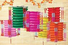 6 Multicolor Cylindrical Paper Lantern . $10.95. This beautiful cylindrical lantern has five different colors in each angle. It is a must-have for Chinese children at the Chinese New Year celebration. You can use them to decorate your child's room or your party! They fold up for easy storage for next year.