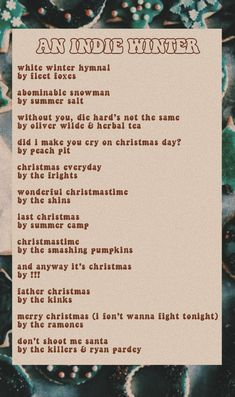 indie winter / christmas playlist 4 u - Joyeuxx Noel 2020 Mood Songs, Music Mood, New Music, Indie Music, Christmas Playlist, Fall Playlist, Playlist Ideas, Music Recommendations, Song Suggestions