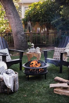 firepit and s'mores