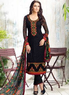 Black Embroidery Work Georgette Designer Party Wear Printed Pakistani Suit http://www.angelnx.com/Salwar-Kameez/Pakistani-Suits
