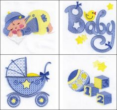 """Billy Boy Set 1"" +FREE Sample! Is a cute set of designs, just for baby boys (sometimes hard to find). Comes with a sweet little baby boy, sleeping...baby carriage, ball, blocks,   overalls, clothesline, and fun elements perfect for baby boy clothes!"