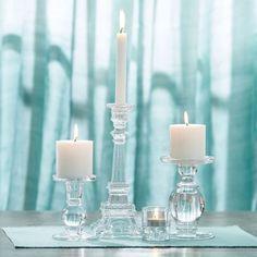 HOUSEHOLD GLASS CANDLESTICKS & TEALIGHT Morgan & Finch