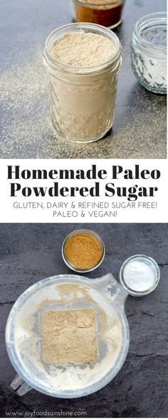 Homemade Paleo Powdered Sugar Recipe! 5 minutes with only 2 ingredients! Gluten-free, dairy-free, refined sugar free, paleo & vegan!