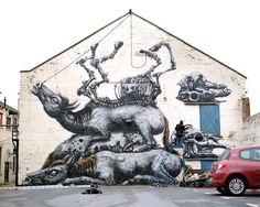 ROA, 'Four Horses', Newcastle - unurth | street art