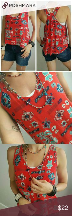 Beautiful Tribal High-low Tank Bright red and very flattering! ❤ Tops Tank Tops