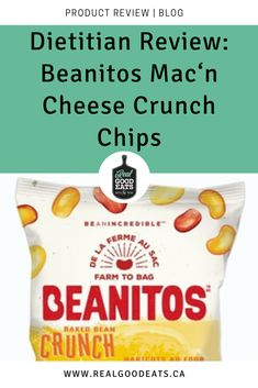 This Beanitos Baked Bean Mac'n Cheese Crunch Chips Product Review will help you decide if these chips are nutritionally sound and worth the money. Read on for my review of taste, nutritional properties, ingredients, uses, cost, and overall versatility before making your decision. #productreview #dietitian #healthysnacking #healthysnacks #healthyeating