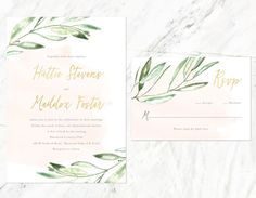 Rustic Watercolor Wedding Invitation, Gold and Watercolor Wedding Invitation, Olive Branch Wedding Invitation by AlexaNelsonPrints on Etsy https://www.etsy.com/listing/278579588/rustic-watercolor-wedding-invitation