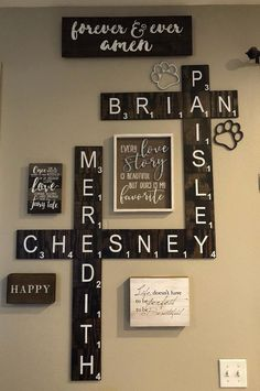 DIY Home Decor contemporary to country - Truly easy but inspiring decor to make a truly impressive inexpensive home decor diy . Idea provided on this moment 20190508 , styling reference id 6898681845 Deco Scrabble, Scrabble Wand, Wooden Scrabble Tiles, Scrabble Wall Art, Rustic Walls, Rustic Wall Decor, Rustic Farmhouse Decor, Diy Wall Decor, Diy Home Decor