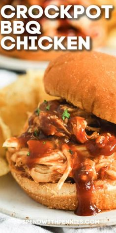 Crockpot BBQ chicken sandwiches are a quick and easy recipe to prepare! Toss all ingredients in the crockpot and let it cook all day. Then shred and serve on top buns for a delicious pulled chicken sandwich. Pulled Chicken Sandwiches, Bbq Chicken Sandwich, Grilled Chicken, Slow Cooker Recipes, Crockpot Recipes, Cooking Recipes, Tofu Recipes, Salad Recipes, Recipies
