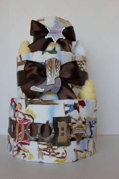 Cowboy Baby Boy Diaper Cake by RessellCustomBaby on Etsy, $59.00