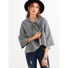 SheIn(sheinside) Grey Knotted Collar Kimono Sleeve Double Face Coat (€22) via Polyvore featuring outerwear, coats, short sleeve coat, short coat, collarless coat, grey coat en leather-sleeve coats