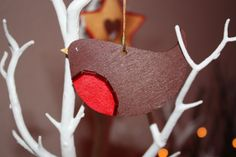 Christmas Robin Ornament  brown with red breast by WelshChristmas, £2.50
