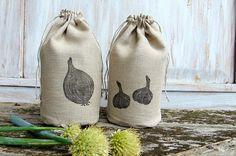 Kitchen storage bag set of 2 reusable produce organic food onion garlic linens 5x10