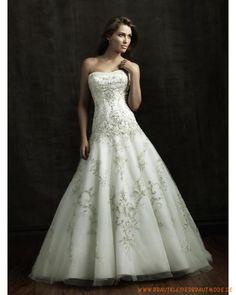 2013 Brautkleider für Prinzessin aus Satin und Tüll verziertes Mieder und schöner Ballrock mit langer Schleppe
