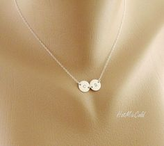 TWO Initial Charm Necklace / Tiny Monogram Disc Jewelry / STERLING SILVER, Mom and Child, Couple Jewelry, Sister, Best friends Necklace by hotmixcold on Etsy https://www.etsy.com/listing/104715609/two-initial-charm-necklace-tiny-monogram