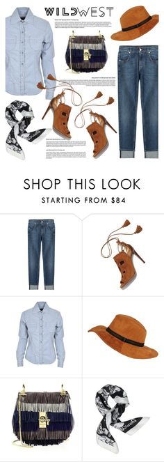"""""""Wild West Style"""" by helenevlacho ❤ liked on Polyvore featuring 7 For All Mankind, Aquazzura, Chloé, Moschino, contestentry and wildwest"""